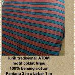Lurik Tradisional ATBM motif Coklat Hijau
